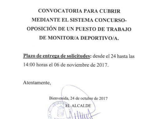 CONVOCATORIA PARA CUBRIR PUESTO DE MONITOR/A DEPORTIVO/A