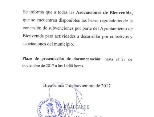 CONVOCATORIA PARA LA CONCESION DE SUBVENCIONES PARA LAS ASOCIACIONES DE BIENVENDIA