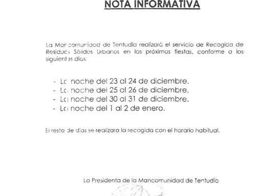 RECOGIDA DE RESIDUOS SÓLIDOS URBANOS PARA ESTAS FIESTAS