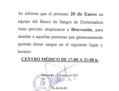 CITA IMPORTANTE CON EL BANCO DE SANGRE DE EXTREMADURA