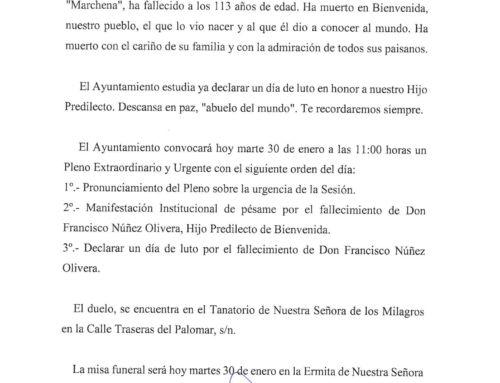 ACTOS POR EL FELLECIMIENTO DE DON FRANCISCO NÚÑEZ OLIVERA
