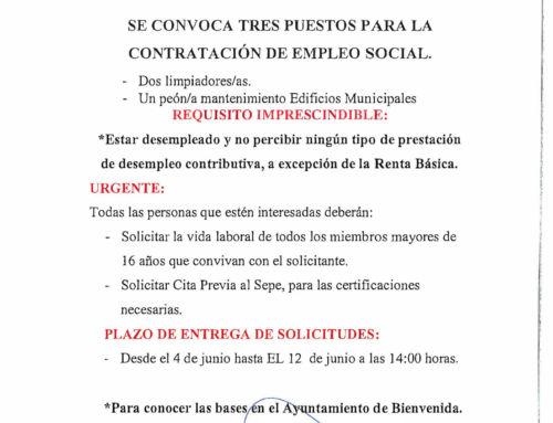 SE CONVOCAN TRES PUESTOS PARA LA CONTRATACIÓN DE EMPLEO SOCIAL