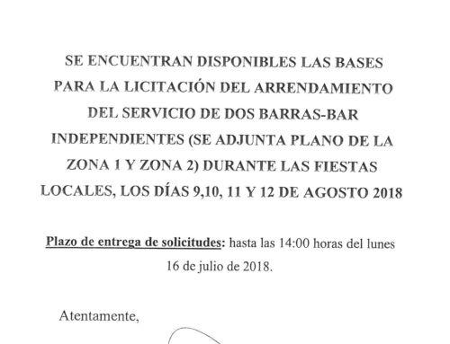 FERIA DE AGOSTO 2018: LICITACIÓN BARRA-BAR (ZONA 1)