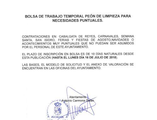 BOLSA DE TRABAJO TEMPORAL. PEÓN DE LIMPIEZA PARA NECESIDADES PUNTUALES.