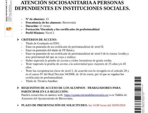 """ESCUELA PROFESIONAL """"BIENVENIDA I"""" ATENCIÓN SOCIOSANITARIA A PERSONAS DEPENDIENTES EN INSTITUCIONES SOCIALES"""