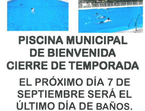 AVISO: PISCINA MUNICIPAL – CIERRE DE TEMPORADA