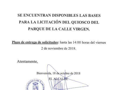 BASES PARA LA LICITACIÓN DEL QUIOSCO DEL PARQUE DE LA CALLE VIRGEN