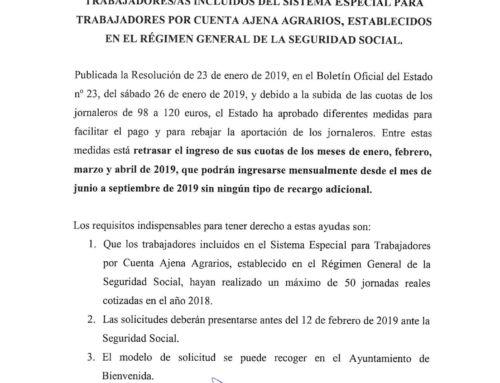 Moratoria trabajadores/as por cuenta ajena agrarios, en el Régimen General de la Seguridad Social.