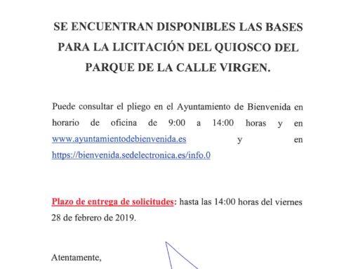 Bases para la licitación del Quiosco del parque de la C/ Virgen.