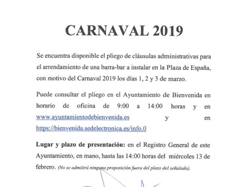 CARNAVAL 2019. Pliego arrendamiento barra bar.