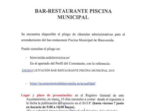 Licitación Bar-Restaurante Piscina Municipal