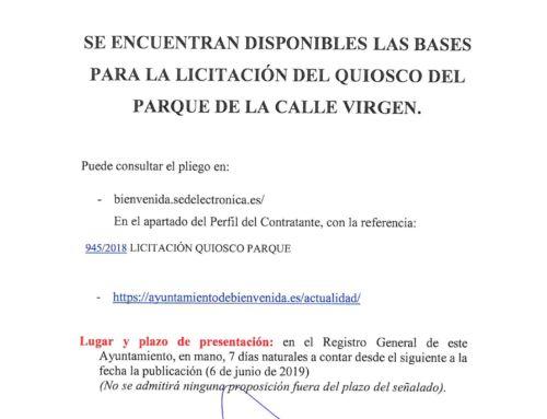 Licitación Quiosco Parque de la C/Virgen