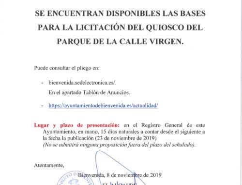 Licitación Quiosco Parque C/Virgen.