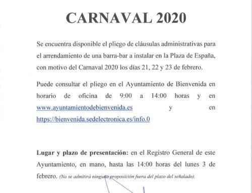 Carnaval 2020. Licitación Barra-Bar para la Carpa Municipal.