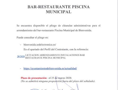 Licitación Bar-Restaurante: Piscina Municipal.
