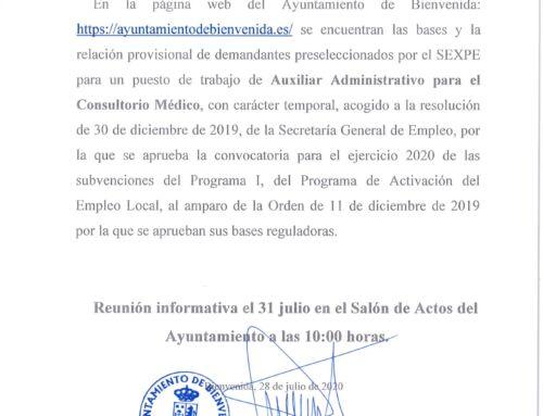 EMPLEO: BASES DE SELECCIÓN DE UN PUESTO DE TRABAJO DE AUXILIAR ADMINISTRATIVO PARA EL CONSULTORIO MEDICO, CON CARÁCTER TEMPORAL.