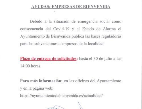 Ayudas para empresas de Bienvenida- Covid-19