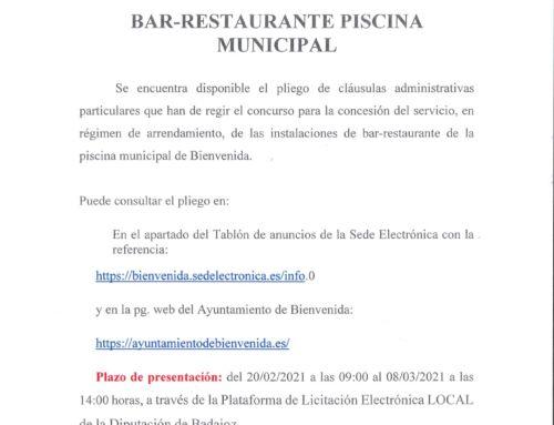 Licitación Bar- Restaurante de la Piscina Municipal