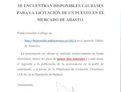 Licitación puesto en el Mercado de Abastos.