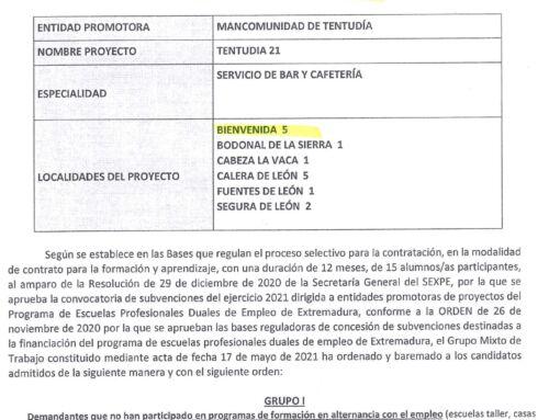 """Relación provisional de alumnos/as preselecionados para participar en el Programa de Formación """"Escuelas Profesionales Duales de Extremadura"""""""