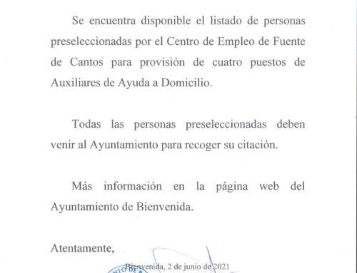 Personas preseleccionadas para cuatro puestos para Ayuda a Domicilio del Ayuntamiento de Bienvenida.