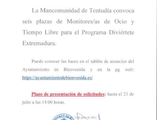 Convocatoria de seis plazas de Monitor/ra de Ocio y Tiempo Libre, para el programa Diviértete Extremadura.
